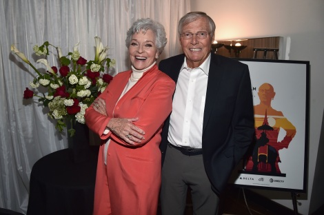 LOS ANGELES, CA - APRIL 29: Actors Lee Meriwether (L) and Adam West attend 'Batman: The Move' during day 2 of the TCM Classic Film Festival 2016 on April 29, 2016 in Los Angeles, California. 25826_006 (Photo by Alberto E. Rodriguez/Getty Images for Turner) *** Local Caption *** Lee Meriwether; Adam West