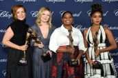 PALM SPRINGS, CA - JANUARY 02: (L-R) Actresses Kimberly Quinn, Kirsten Dunst, Octavia Spencer and Janelle Monae pose with the Ensemble Performance Award during the 28th Annual Palm Springs International Film Festival Film Awards Gala at the Palm Springs Convention Center on January 2, 2017 in Palm Springs, California. (Photo by Michael Kovac/Getty Images for Palm Springs International Film Festival)