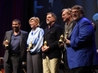 All five 2018 Oscar nominated directors were honored, February 6th, 2018, during the 33rd annual Santa Barbara International Film Festival's Outstanding Director Tribute. The evening was moderated by The Hollywood Reporter's Scott Feinberg. Pictured from left to right; Jordan Peele (GET OUT!), Great Gerwig (LADYBIRD), Paul Thomas Anderson (PHANTOM THREAD), Christopher Nolan (DUNKIRK), and Guillermo del Toro (THE SHAPE OF WATER). (Photo credit: Larry Gleeson/HollywoodGlee)
