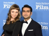 Emily Gordon, left, and Khumail Nanjiani on the red carpet at the historic Arlington Theatre February 3, 2018. Nanjiani was being honored as a Santa Barbara International Film Festival Virtuoso for his work on the film, The Big Sick. (Photo by Larry Gleeson/HollywoodGlee)