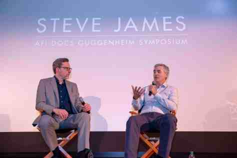 2018 Guggenheim Honoree Steve James and Chicago Tribune Film Critic Michael Phillips. Credit_ Gediyon Kifle